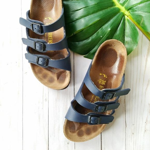 Birkenstock Shoes - Birkenstock Florida Birko-Flor Sandals Navy 85cf35270cf